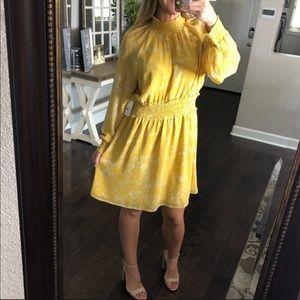 Halogen NWOT floral long sleeve yellow dress